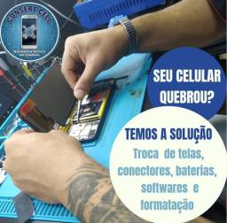 Celular, tablet e iphone.