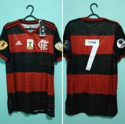 Camisa do Flamengo Rubro Negra Masculina com patches e número 7