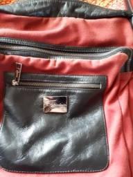 Bolsa em lona e couro