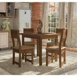 Conjunto de Mesa 4 Cadeiras Dallas Indekes Noce/bege