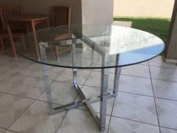 Mesa de vidro redondo 10mm + base de mesa em aço inox Milano 1,20 x 1,20