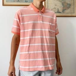 Camisa Listrada Gola Polo (salmão)