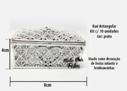 Porta Jóia Baú Retangular Prata - 10 unidades