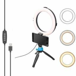 Ring light led 16cm com tripé de mesa e suporte celular