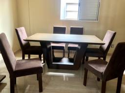 Mesa de Vidro de Jantar Kappesberg Marrom - 6 cadeiras