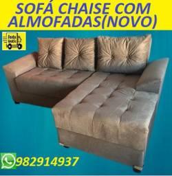 Show de Economia!!Lindo Sofa Chaise Com Almofadas Com Frete Gratis!!