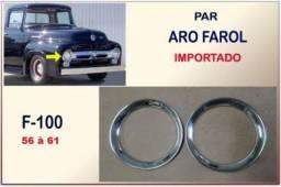 Aro Farol F-100 F-350 F-600 56 A 61 Ford Inox Importado - Par