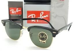 Óculos de Sol Clubmaster Preto Com Armação Dourada Moda Blogueira