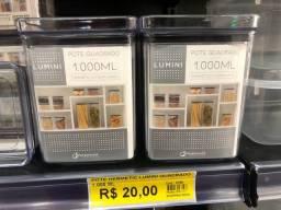 R$ 20 unidade, pote Hermético lumini quadrado 1.000 ML