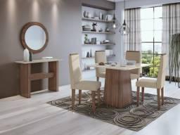 Título do anúncio: Sala de Jantar Nevada da Lopas com Tampo MDF/Vidro Branco - Entrega Grátis