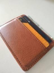 Carteira de Bolso de Couro p/ Cartão  Card Holder Marrom