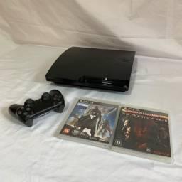 PS3 Slim Com Controle PS4- 120GB - - 2 Jogos