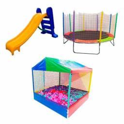 kit: pula pula, piscina de bolinhas e escorregador.