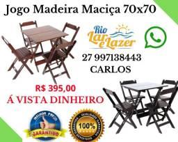Mesa e Cadeira Madeira Maciça 70x70 Dobráveis