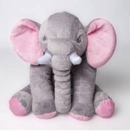 Almofada Elefante Pelúcia Cinza 60cm