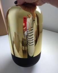 Vaso vidro dourado/preto