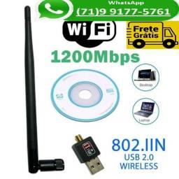 Antena Wi-fi Adaptador Wireless 1200mb/s Usb Pc Notebook 1200 (NOVO)