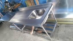 Pia aço inox industrial 1.40 cm