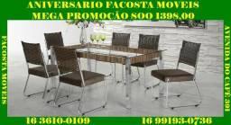 Mesa de jantar com 6 cadeira , fabrica,facosta moveis mega promoçao so 1398,00