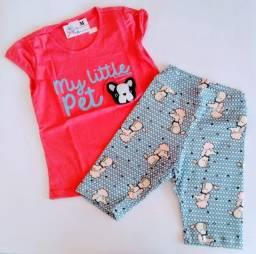 Conjuntos infantis meninas short cotton