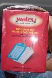 Título do anúncio: Chaveiro C/50 + 50 Etiquetas Cores Sortidas Waleu, Multicor, pacote de 50