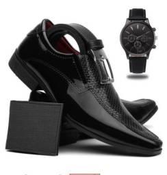 Sapato Masculino Verniz Social + Cinto + Carteira + Relógio