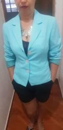 Blazer feminino azul turquesa