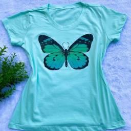 Título do anúncio: Kit  2 Tshirts Blusa  Feminina 100% Algodão Tamanho M