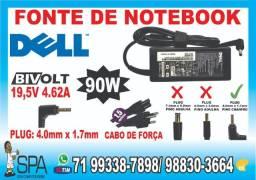 Carregador Dell 19.5v 4.62a 90w 4.0mm x 1.7mm sem agulha