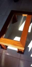 Mesa de centro com tampa de vidro (especificações na descrição)