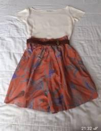 Conjunto de seda bermuda e blusa