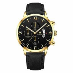 SHAARMS Relógio de Quartzo Analógico com Pulseira de Couro/ Relógio de Pulso Esportivo.