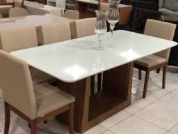 Título do anúncio: Mesa de jantar nova completa 6 cadeiras resistente de madeira maciça