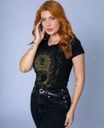 Título do anúncio: Tshirt Blusa Camiseta Feminina Nova Preta 100% Algodão