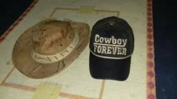 Vendo boné e um chapéu