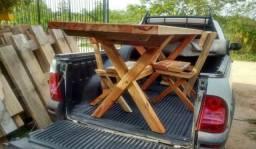 Mesa rustica pesada de pinho americano