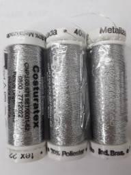 Título do anúncio: Linha Costura Metalizada Prata Costuratex 3 Unidades