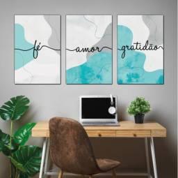 Quadros Decorativos Fé, Amor e Gratidão. Composição 3 peças - Frases Positivas