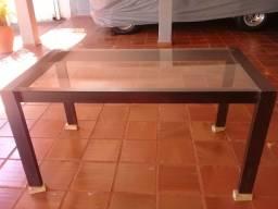 Mesa de jantar  6 lugares tampo de vidro