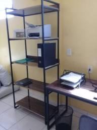 Cj. home office, mdf 15mm lacca,novo, top, estilo ind., mesa e estante, impermeável