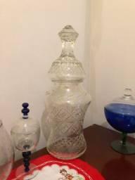 Antigo baleiro/bomboniere de cristal objeto muito antigo