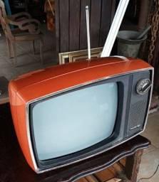 Antiga tv Philco Ford década 70 laranja vermelha original
