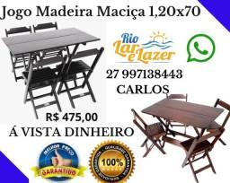 Jogo Mesa e Cadeira Madeira Maciça 1,20x70 Envernizadas