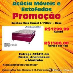 Colchão Mola Bonnel C/Pillow + Base