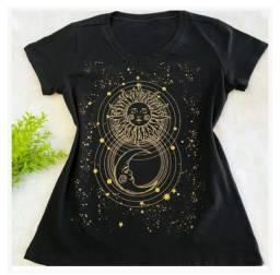 Título do anúncio: Tshirt Blusa Camiseta Feminina Nova Preta 100% Algodão Tamanho G