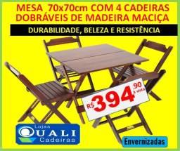 Estoque Novo - Mesas e cadeiras dobráveis em madeira - Aproveite