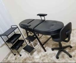Título do anúncio: Móveis Para Micropigmentação - Kit Maca Reforçada com Mocho/Carriinho e Escada