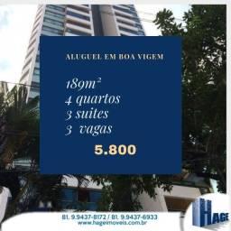 Alugo  189m²/4quartossendo 2 suites/3vagas/ semi-mobilhado