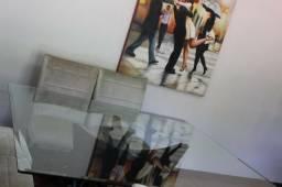 Mesa Quadrada com tampo de vidro incolor 10 mm temperado