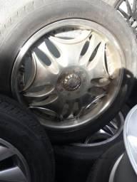 Roda aro 18 Polida com borda Ford EcoSport com Pneu 235 50 18 Dunlop jogo multi furo